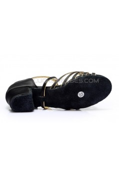 Women's Kids' Dance Shoes Latin/Ballroom Satin Chunky Heel Black Gold Dance Shoes D601020