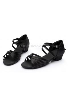 Women's Kids' Dance Shoes Latin/Ballroom Satin Chunky Heel Black Dance Shoes D601025