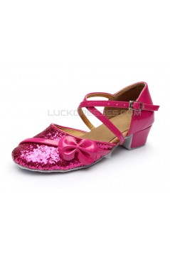 Women's Kids' Fuschia Sparkling Glitter Flats Latin Dance Shoes Chunky Heels Modern Dance Shoes D601028