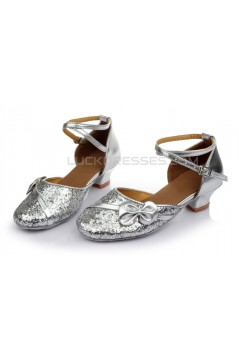 Women's Kids' Silver Sparkling Glitter Flats Latin Modern Dance Shoes Chunky Heels Wedding Party Shoes D601029