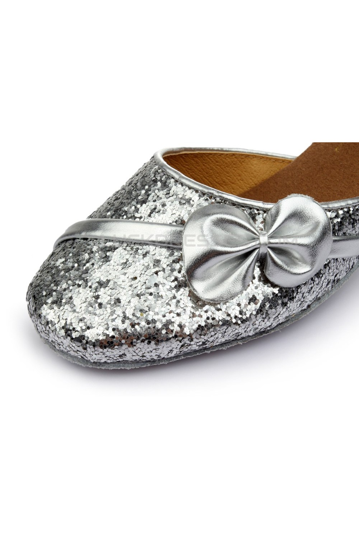 Women S Kids Silver Sparkling Glitter Flats Latin Modern