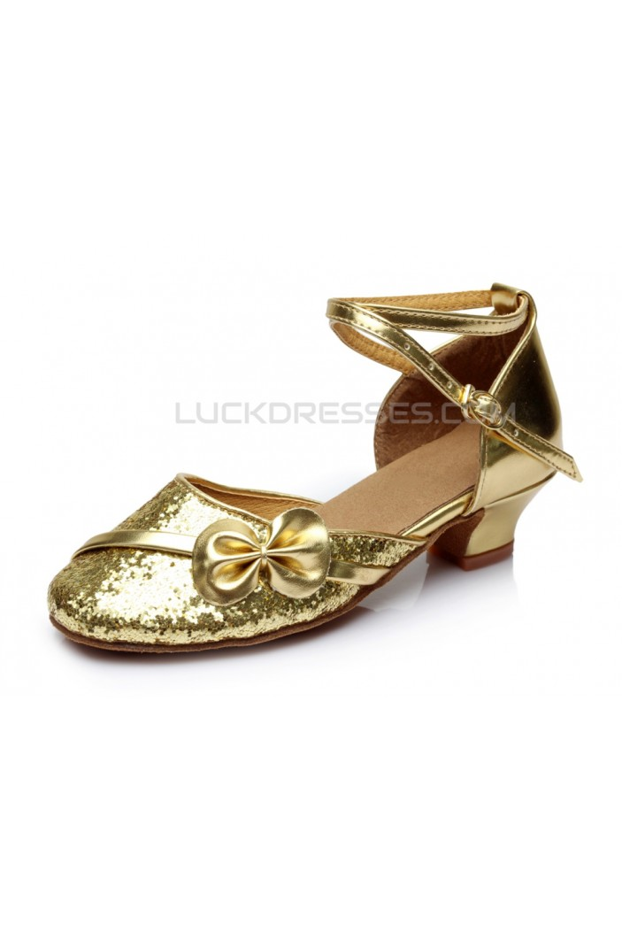 Women's Kids' Gold Sparkling Glitter Flats Latin Modern Dance Shoes Chunky Heels Wedding Party Shoes D601030