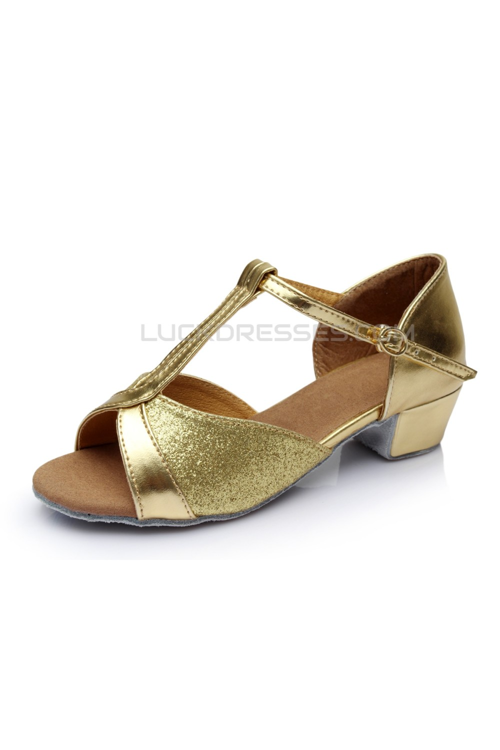 7490d96e6173 Women s Kids  Gold Sparkling Glitter Flats Latin T-Strap Dance Shoes Chunky  Heels Wedding Party Shoes D601032
