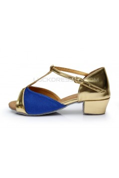 Women's Kids' Blue Satin Flats Latin Salsa T-Strap Dance Shoes Chunky Heels Dance Shoes D601033