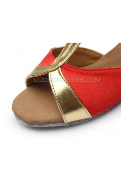 Women's Kids' Red Satin Flats Latin Salsa T-Strap Dance Shoes Chunky Heels Dance Shoes D601034