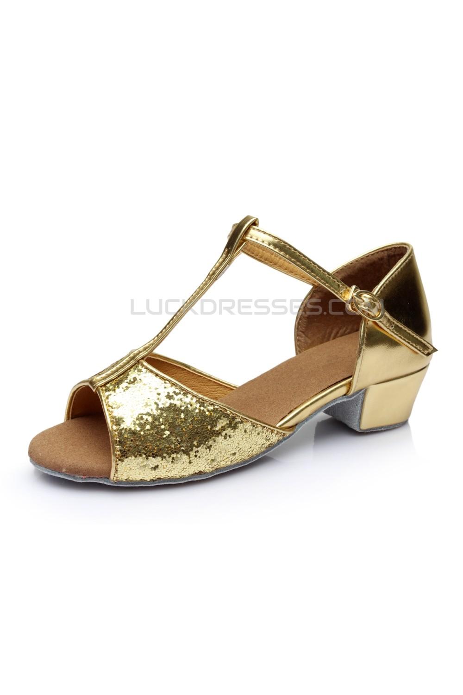 Women s Kids  Gold Sparkling Glitter Flats Latin Salsa T-Strap Dance Shoes  Chunky Heels Wedding Party ... eb8f9f4d9c