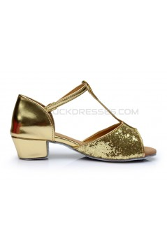 Women's Kids' Gold Sparkling Glitter Flats Latin Salsa T-Strap Dance Shoes Chunky Heels Wedding Party Shoes D601035