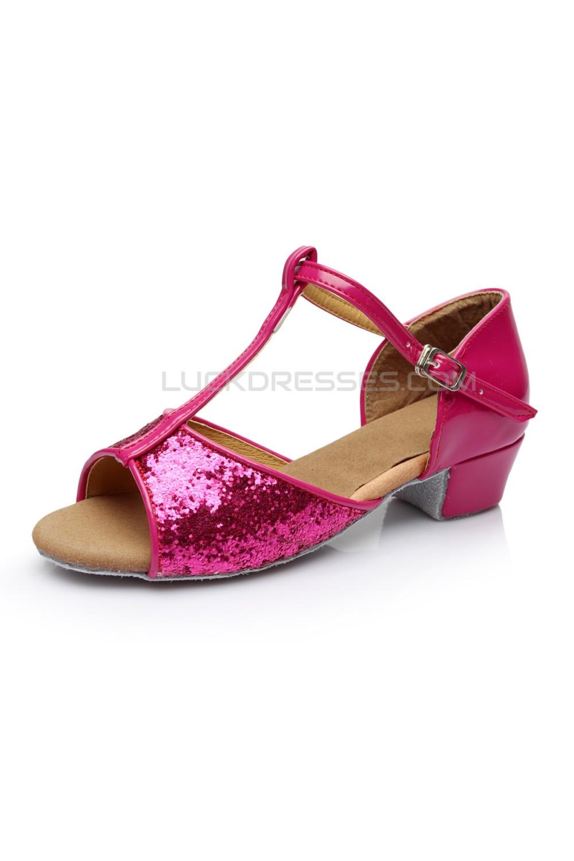 Womens Kids Fuschia Sparkling Glitter Flats Latin Salsa T Strap Dance Shoes Chunky Heels Wedding Party D601036