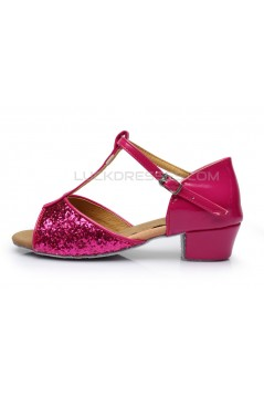 Women's Kids' Fuschia Sparkling Glitter Flats Latin Salsa T-Strap Dance Shoes Chunky Heels Wedding Party Shoes D601036