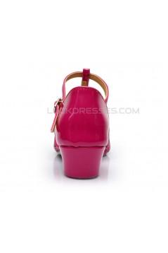 Women's Kids' Fuschia Sparkling Glitter Flats Latin Salsa T-Strap Dance Shoes Chunky Heels Wedding Party Shoes D601036