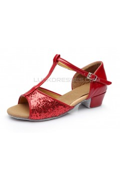 Women's Kids' Red Sparkling Glitter Flats Latin Salsa T-Strap Dance Shoes Chunky Heels Wedding Party Shoes D601037