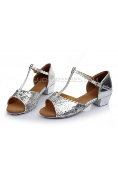 Women's Kids' Silver Sparkling Glitter Flats Latin Salsa T-Strap Dance Shoes Chunky Heels Wedding Party Shoes D601038