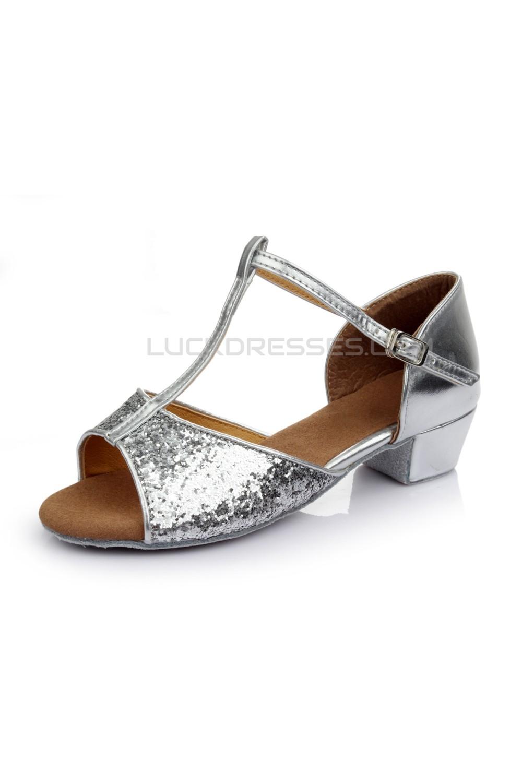 Women\'s Kids\' Silver Sparkling Glitter Flats Latin Salsa T-Strap ...