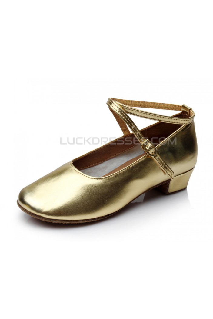 Women's Kids' Gold Leatherette Flats Latin Salsa Modern Dance Shoes Chunky Heels Wedding Party Shoes D601039