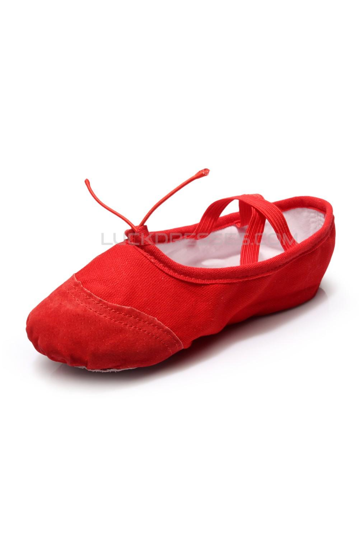 Women S Kids Red Canvas Dance Shoes Ballet Latin Yoga