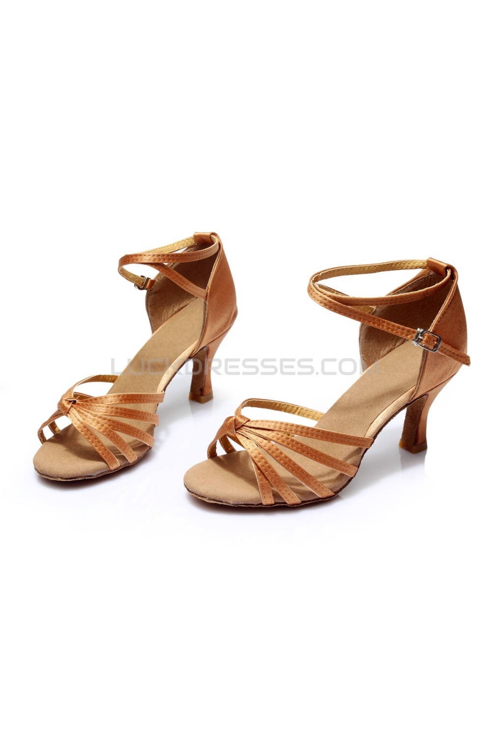 Women S Brown Satin Heels Sandals Latin Salsa With Ankle