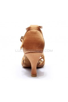 Women's Brown Satin Heels Sandals Latin Salsa With Ankle Strap Dance Shoes D602002