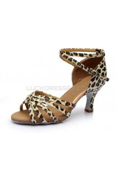 Women's Leopard Satin Heels Sandals Latin Salsa With Ankle Strap Dance Shoes D602022