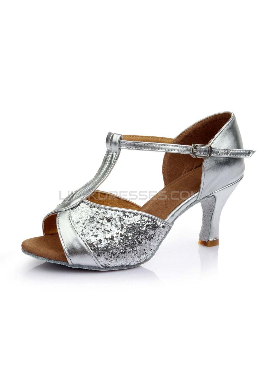 Women\'s Silver Sparkling Glitter Heels Sandals Latin Salsa Ballroom ...