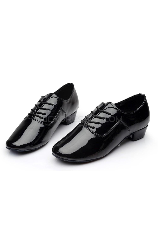 db742ec97d28 Men s Kids  Black Leatherette Modern Ballroom Latin Dance Shoes ...