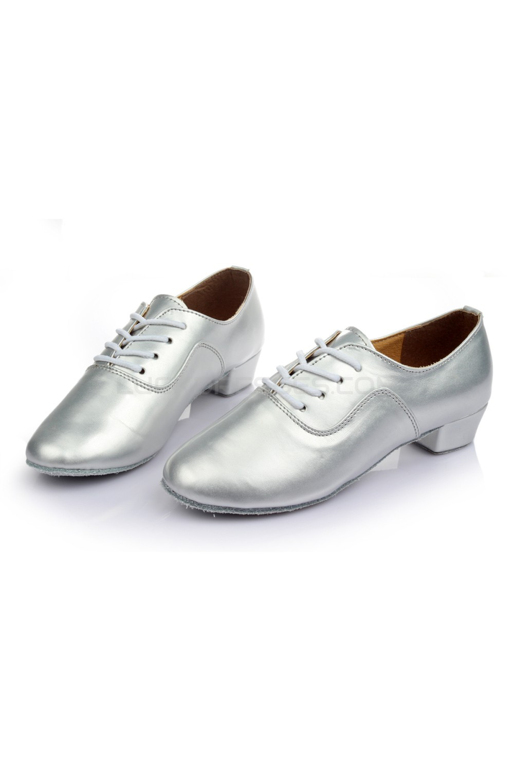e8b33bd76 Men's Kids' Silver Leatherette Modern Ballroom Latin Dance Shoes Dance  Sneakers Flat Heel D603004