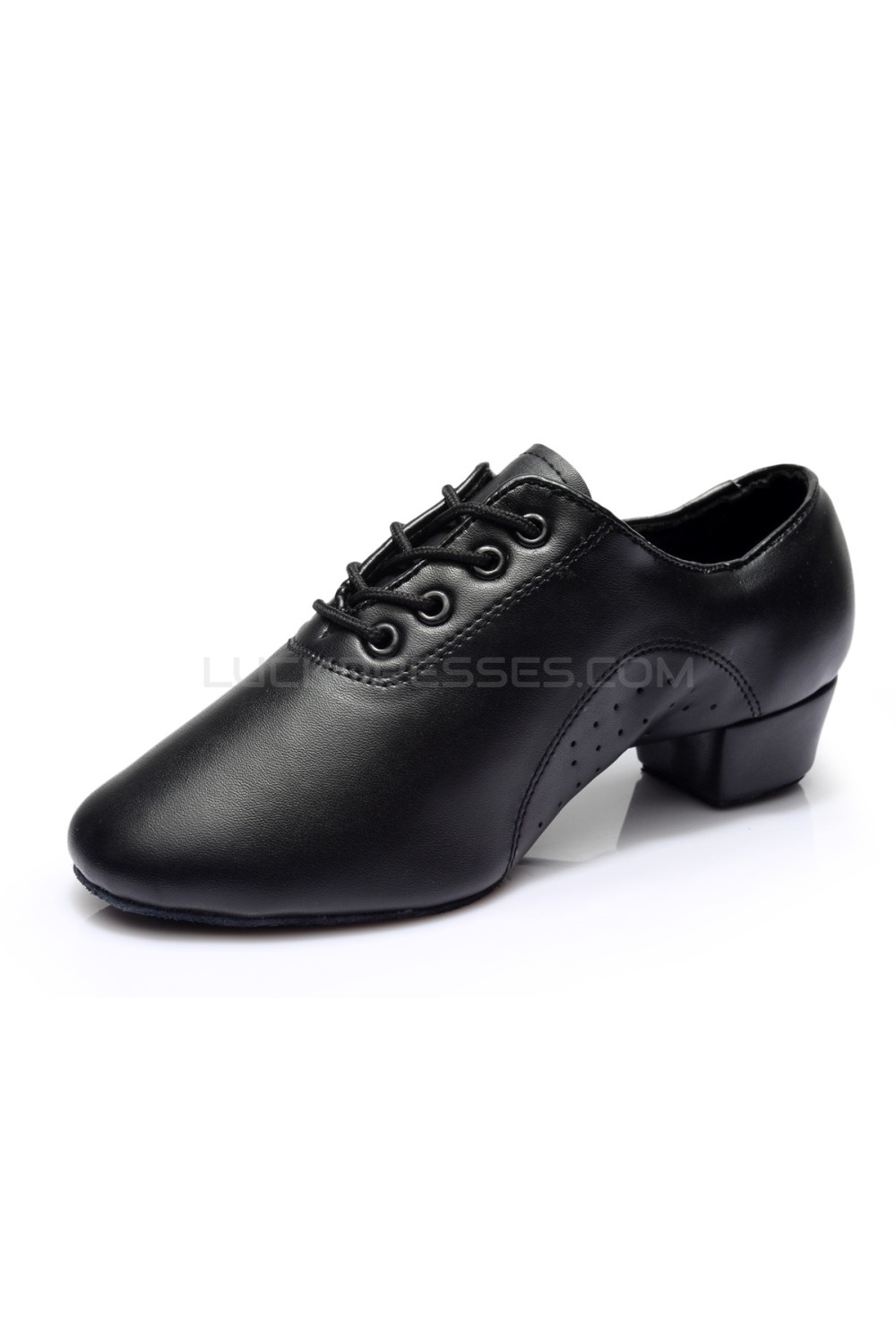65c9f1b4f Men's Kids' Black Soft Leather Modern Ballroom Latin Dance Shoes Dance  Sneakers Flat Heel D603007