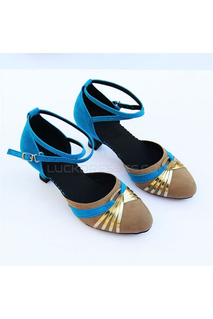 Women's Heels Pumps Modern With Buckle Latin/Ballroom/Salsa Blue Nude Gold Dance Shoes D801022