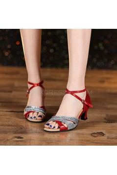 Women's Red Silver Leatherette Sparkling Glitter Heels Sandals Latin With Buckle Dance Shoes D801030