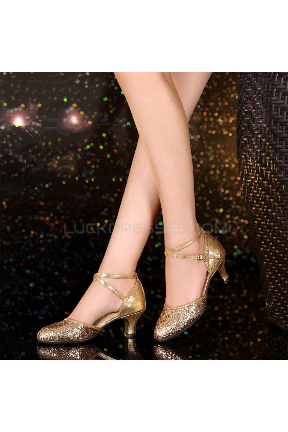 Women\'s Fashion Gold Sparkling Glitter Heels With Ankle Strap Latin ...
