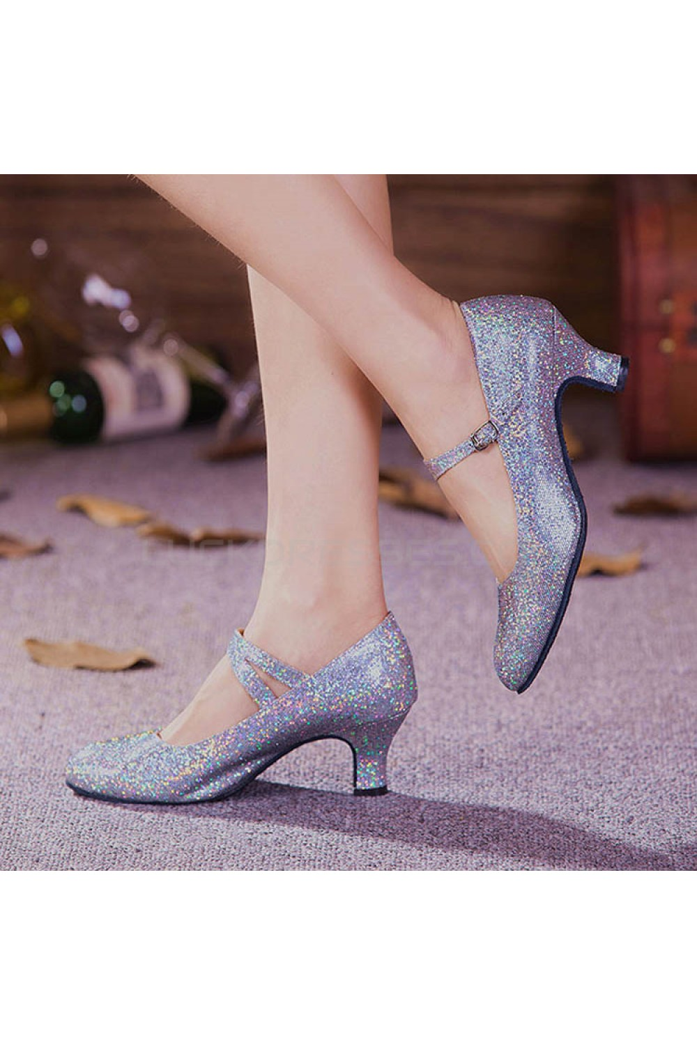 ff817e11b Women's Silver Sparkling Glitter Heels With Buckle Latin Ballroom/Outdoor  Dance Shoes Wedding Party Shoes D801055