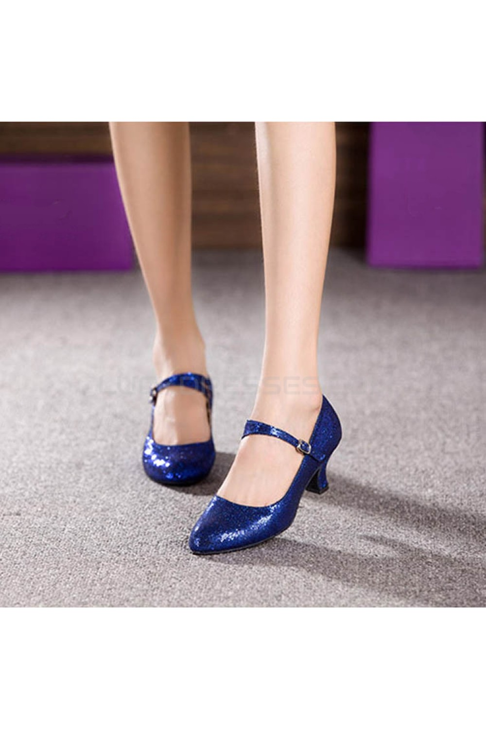 Women S Blue Sparkling Glitter Heels With Buckle Latin