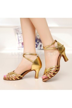 Women's Heels Gold Leatherette Modern Ballroom Latin Salsa Ankle Strap Dance Shoes D901001