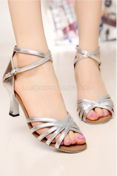 Women's Heels Silver Leatherette Modern Ballroom Latin Salsa Ankle Strap Dance Shoes D901002