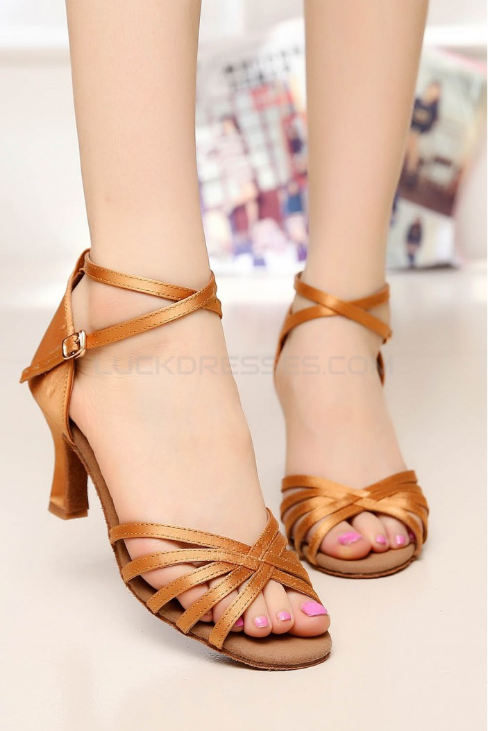 Women's Heels Brown Satin Modern Ballroom Latin Salsa Ankle Strap Dance Shoes D901004