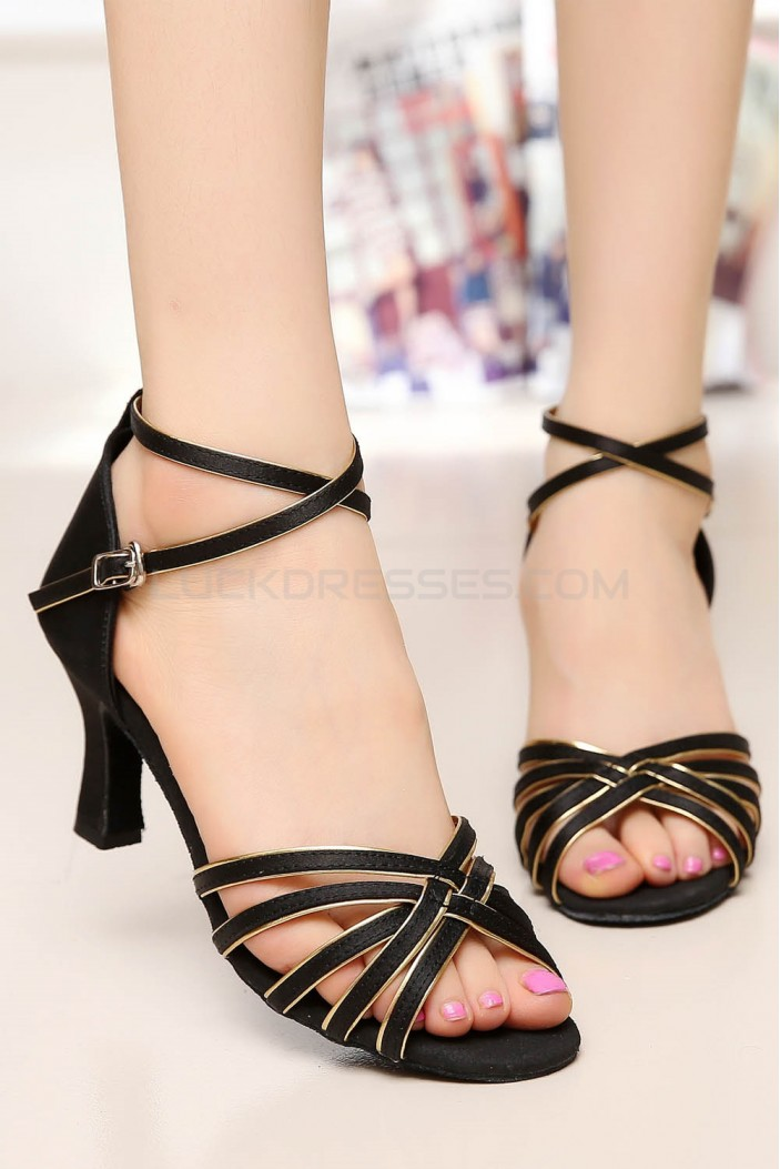 Women's Heels Black Gold Satin Modern Ballroom Latin Salsa Ankle Strap Dance Shoes D901005