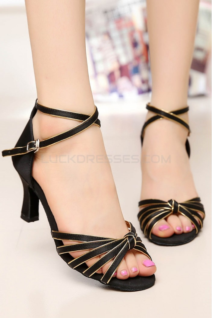 Women's Heels Black Gold Satin Modern Ballroom Latin Salsa Ankle Strap Dance Shoes D901006
