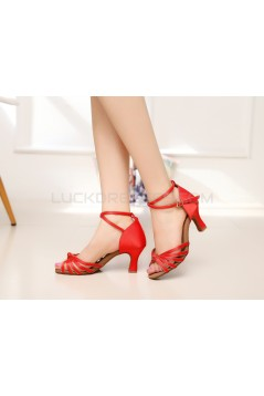 Women's Heels Red Gold Satin Modern Ballroom Latin Salsa Ankle Strap Dance Shoes D901007