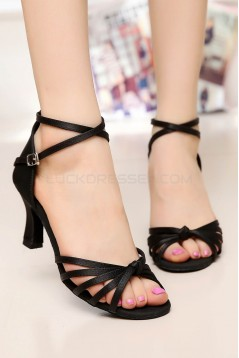 Women's Heels Black Satin Modern Ballroom Latin Salsa Ankle Strap Dance Shoes D901008