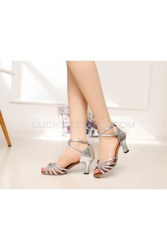 Women's Heels Silver Leatherette Modern Ballroom Latin Salsa Ankle Strap Dance Shoes D901010