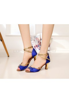Women's Heels Blue Gold Satin Leatherette Modern Ballroom Latin Salsa Ankle Strap Dance Shoes D901012