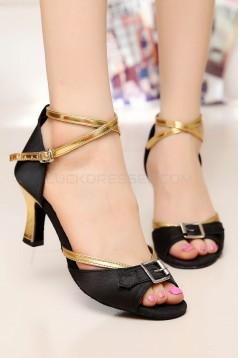 Women's Heels Black Gold Satin Leatherette Modern Ballroom Latin Salsa Ankle Strap Dance Shoes D901013
