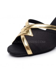 Women's Heels Black Gold Satin Leatherette Modern Ballroom Latin Salsa Ankle Strap Dance Shoes D901014