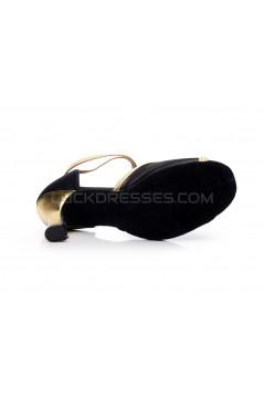 Women's Heels Black Gold Satin Leatherette Modern Ballroom Latin Salsa Ankle Strap Dance Shoes D901014