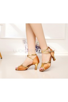 Women's Heels Brown Gold Satin Leatherette Modern Ballroom Latin Salsa Ankle Strap Dance Shoes D901015
