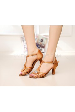 Women's Heels Brown Satin Modern Ballroom Latin Salsa T-Strap Dance Shoes D901016