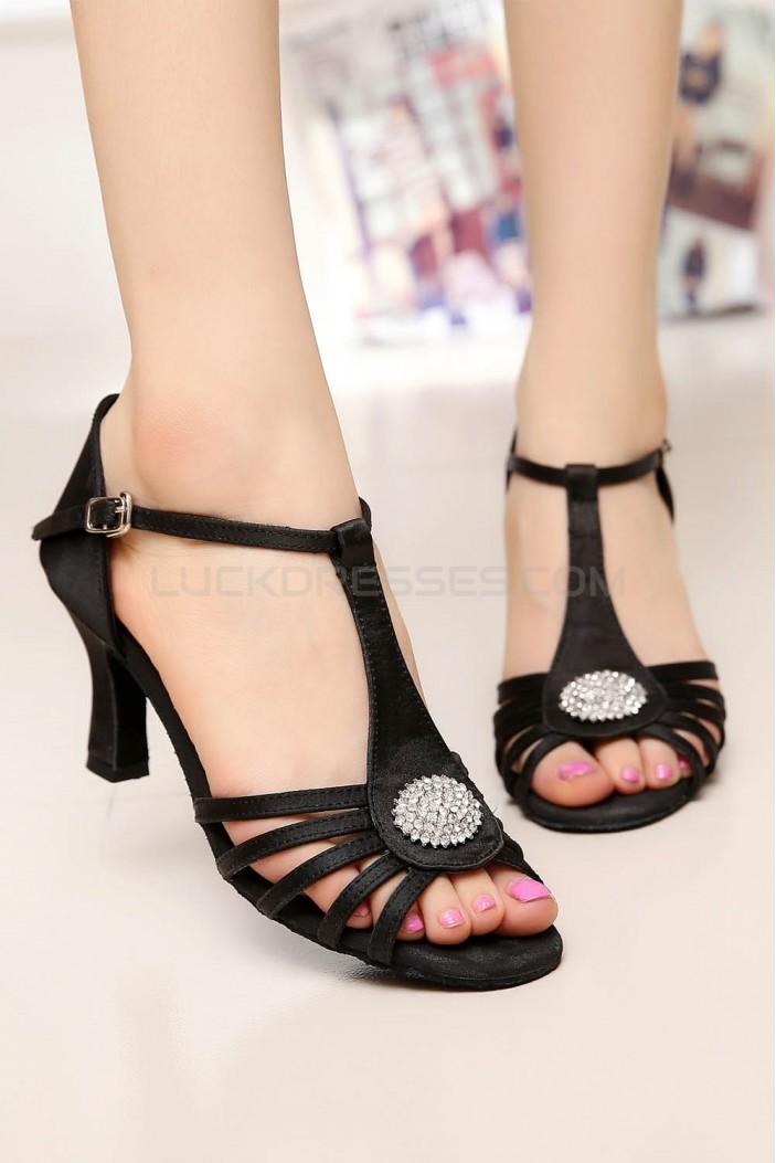 Women's Heels Black Satin Modern Ballroom Latin Salsa T-Strap Dance Shoes D901017