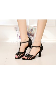 Women's Heels Black Satin Modern Ballroom Latin Salsa T-Strap Dance Shoes D901018