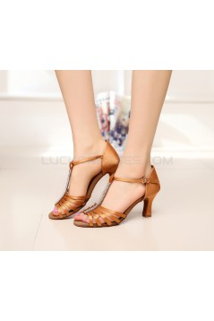 Women's Heels Brown Satin Modern Ballroom Latin Salsa T-Strap Dance Shoes D901019