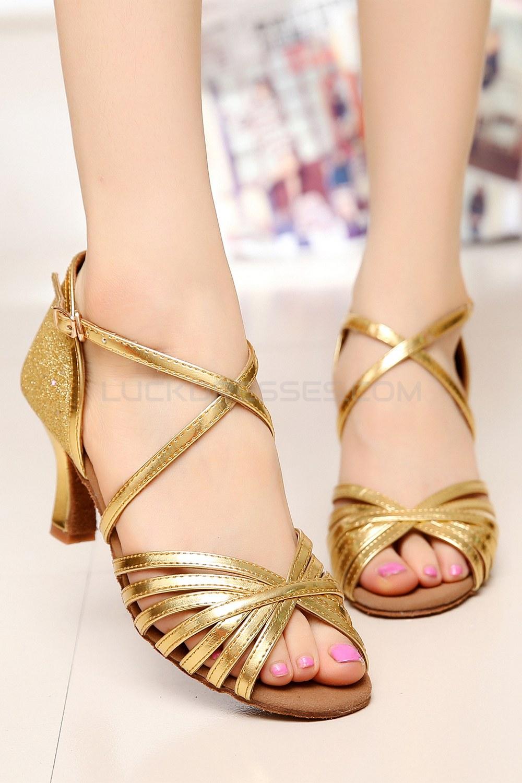 Women S Heels Gold Leatherette Sparkling Glitter Modern Ballroom Latin Salsa Dance Shoes Wedding D901020