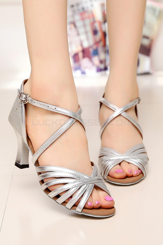 Women S Heels Silver Leatherette Sparkling Glitter Modern Ballroom Latin Salsa Dance Shoes Wedding D901021